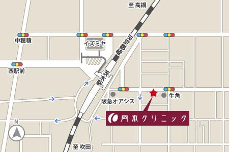岡本クリニック(大阪府茨木市)地図